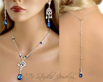 Blue Crystal Chandelier Bridal Necklace and Earrings Set with Back Drop Lariat - Stones available in several colors - DAPHNE