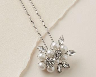 Floral Pearl Hair Pin, Bridal Hair Accessories, Pearl Bridal Hair Pin, Rhinestone Hair Pin, Wedding Hair Pin, Bridal Headpiece ~TP-2815