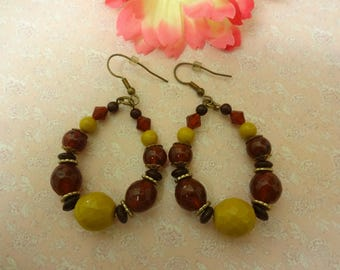 Amber and Yellow Lucite Earrings, Lucite Amber Earrings, Hoop Earrings, Brown Earrings, Yellow Earrings, Amber Dangle Earrings, Amber Hoop