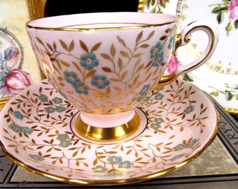 Tuscan Tea Cup and Saucer Pink & Gold Beaded Floral Pattern Teacup