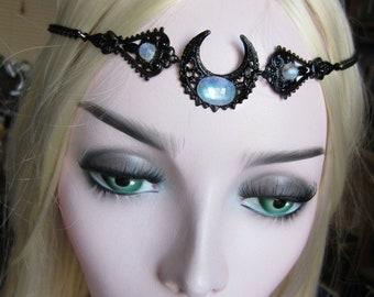 Rainbow Moonstone Circlet, Black Circlet, Black Crescent Choker, Pagan Ritual Jewelry, Gothic Circlet, Filigree Headpiece or Choker, Choose