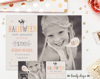 Halloween Mini Session Template and Facebook Timeline for Photographers INSTANT DOWNLOAD