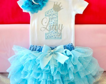 Winter 1st birthday in blue/silver,First Birthday Outfit girl,princess birthday outfit,blue ruffle tutu,one year birthday,cake smash outfit