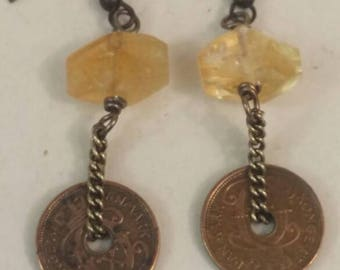 DANISH COIN  vintage antique  coin assemblage earrings