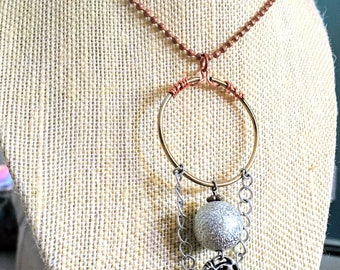 Up-Cycled Silver Orb and Filigree Button with Chain Loop on Copper-Wrapped Brass Ring
