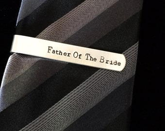 Father of the Bride Tie Bar Clip Aluminum Personalized Gift for Him - Father gift - Birthday - Wedding - Graduation - Ceremony