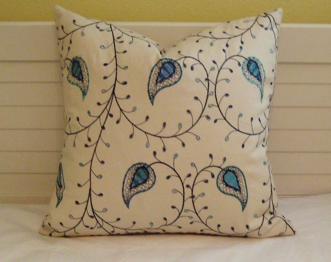 FREE SHIPPING Assyrian Vine in Luna with Embroidered Detail  Pillow Cover - 20x20