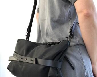 Black leather crossbody bag, shoulder bag