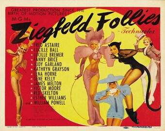 Ziegfeld follies 1945 Fred Astaire musical movie poster reprint 19x12.5 inches