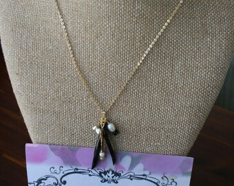 Black coral and Pearl necklace