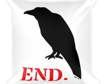 Bird Crow END Raven Square Throw Pillow Tarot Deck Witchy Gothic Vegan Inspirational Cosplay Fursuit