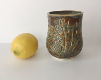 Amber Light Carved Cup - 10 ounce