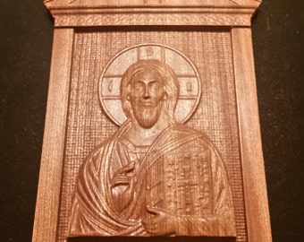 Original Carved Wooden Icon of Christ Pantacator