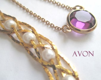 AVON Necklaces * Amethyst Colored Stone & Faux Pearl * Lot Of Two Necklaces * Gift For Lady