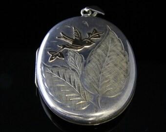 Vintage Silver Gold Locket – Large Locket Gold Bird Motif