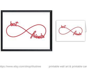Best friends forever, digital art print, printable wall art, bff, infinty sign, 5x7, 8x10, 11x14, 20x16, art print, instant download