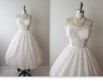 50s Wedding Dress // Vintage 1950s Strapless White Lace Wedding Dress Gown XS