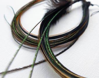 Long Feather Earrings, extra long Boho feather dangle earrings