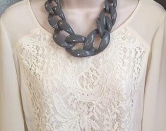 Grey Chunky Chain Lucite Link Grey Housewife Resin Statement Necklace