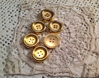Lote de seis botones vintage metal dore
