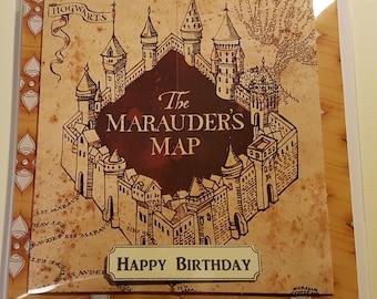 Handmade Harry Potter Inspired The Marauders Map Birthday Card  - Yellow (H)