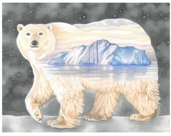 "Polar Bear Card - ""Nanuq. The ever-wandering one"""