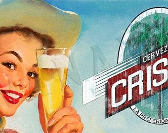 Cristal Cuban Beer Cerveza Vintage Style Pinup Girl Art Print Poster