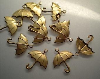 12 brass umbrella charms