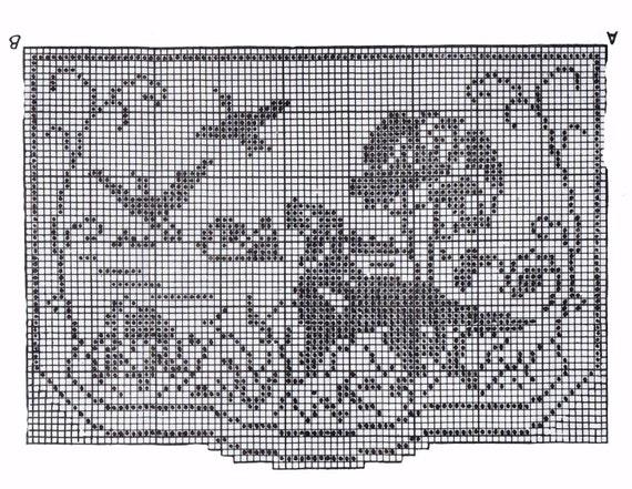 Crochet Pattern Vintage 107 Chair Set Hunting Scene Filet Crochet