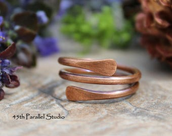 Copper Ring, Copper Paddle Ring, Arthritis Ring, Copper Ring Women, Copper Jewelry, Rustic Jewelry, Wrap Ring, Copper Double Wrap Ring