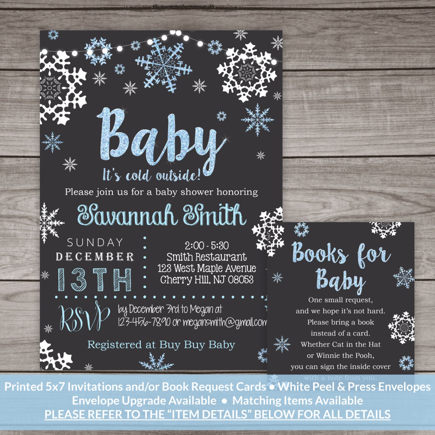 Winter Baby Shower Invitations for a Boy Baby Shower