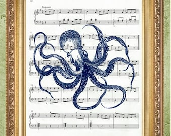 Bathroom Art Print Coastal Print Nautical Art Print Blue Octopus