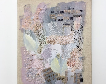 Original Embroidery Burlap Canvas Acrylic Thread Mixed Media Artwork Wall Art Home Decor Needlework Textiles Texture Painting