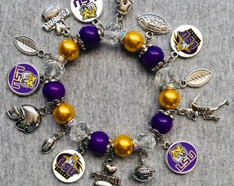 LSU Tigers NCAA Charm Bracelet
