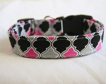 Dog Collar-Quatrefoil- Pink- Grey- Black- Adjustable Dog- Pet Collar- Pet Supplies- Small to Large Breed Dog-5/8- 1 inch 1.5 -2 inch width