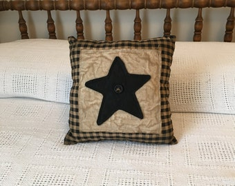Accent Pillows/Handmade/Black and Tan Check Pillow/ Black star pillow/ star pillow