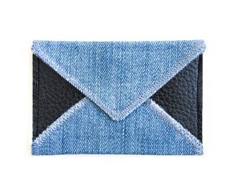 Colour block Card Holder - Handmade from Salvaged Denim and Leather