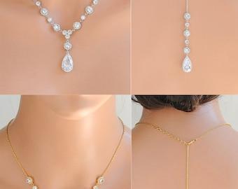 Back Drop Necklace, Rose Gold Bridal Necklace, Backdrop Wedding Necklace, Crystal Halo and Teardrop Necklace, Bridal Back Necklace, MARJETA