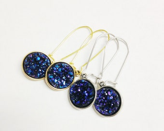 Blue Violet Druzy Earrings, Amethyst Druzy Drop Earrings, Purple Amethyst Earrings, Rough Crystal Stone Earrings, Druzy Dangle Earrings