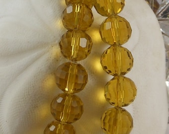 Crystal Beads 12mm Faceted Round Disco Balls Medium Topaz (Qty 6) PH-DB12-MTOP