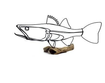 Walleye Wire Sculpture, Fish Wire Art, Minimal Wire Design, 607696671