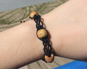 Hemp Macrame Bracelet with Wooden Beads
