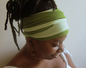 Lime Green & Olive Reversible Stretch  Hair Scarf - Boho Headwrap- Hair Accessories-SKU: WWJ274 -  -Made to order