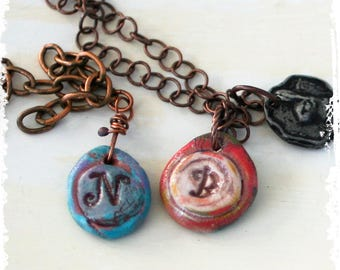 Stamped Clay Initial Charm Pendant Rustic Monogram Layered jewelry Personalized Necklace