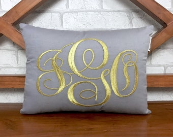 30% OFF Sale Monogram Pillow Metallic Gold Silver Decorative Throw Pillow Custom Valentine Housewarming Dorm Wedding Baby Gift In All Sizes