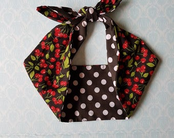 cherry polka dot 50s style bandana, rockabilly pin up psychobilly tattoo hairband headband