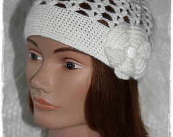 Retro vintage woman in mohair wool hat. Seventies hat. Hippie hat. Beanie.