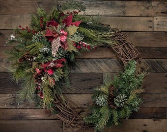 """Burlap Poinsettia & Pine Cone Christmas Wreath Accent/Swag with Small Complimenting Accent - Shown on a 24"""" Wreath (wreath not included)"""