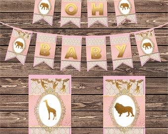 "Pink and Gold Safari Baby Shower Banner, Safari Girl's Baby Shower Pink and Gold ""Oh Baby""  DIY Pennant Banner Instant Download"