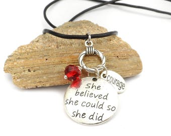 She Believed She Could So She Did Charm Necklace, Encouragement Gift for Friend with Cancer - Illness, Sobriety Graduation Gift
